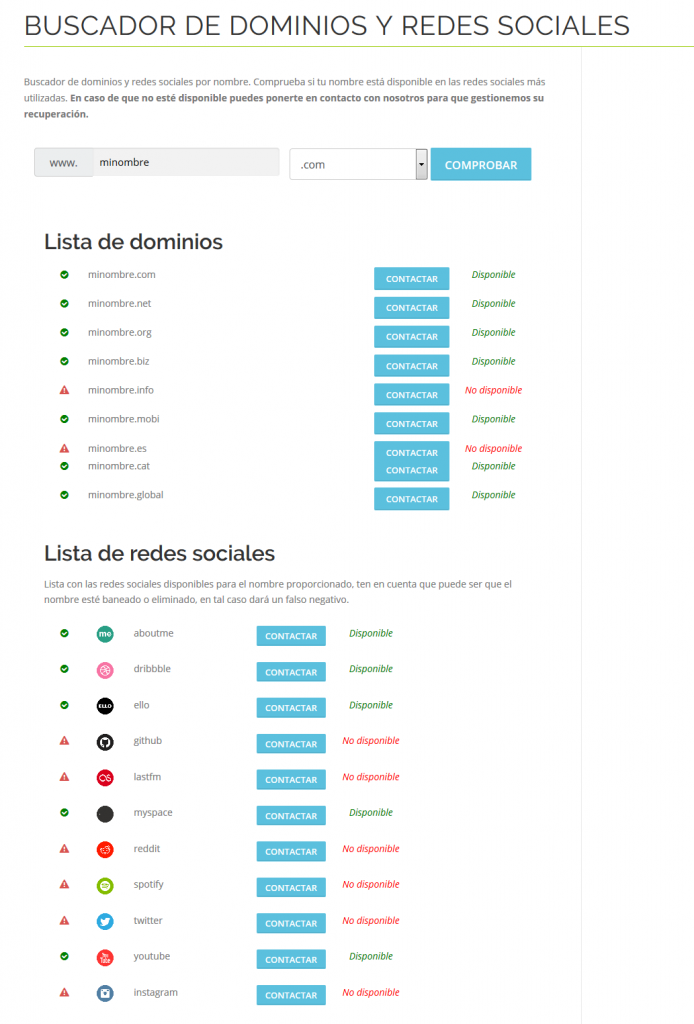 Buscador de dominios y perfiles sociales